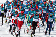 Alex Harvey of Canada, Dario Cologna of Switzerland and Jean Marc Gaillard of France lead the field during the Men's 50km Mass Start Classic on day 15 of the PyeongChang 2018 Winter Olympic Games at Alpensia Cross-Country Centre on February 24, 2018 in Pyeongchang-gun, South Korea.