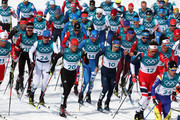 Ristomatti Hakola of Finland, Lucas Boegl of Germany, Francesco De Fabiani of Italy, Andrew Musgrave of Great Britain, Emil Iversen of Norway compete during the Men's 50km Mass Start Classic on day 15 of the PyeongChang 2018 Winter Olympic Games at Alpensia Cross-Country Centre on February 24, 2018 in Pyeongchang-gun, South Korea.
