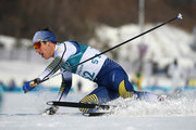Marcus Hellner of Sweden crosses the finish line during the Cross-Country Skiing Men's 15km Free at Alpensia Cross-Country Centre on February 16, 2018 in Pyeongchang-gun, South Korea.