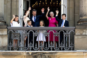 Crown Prince Frederik of Denmark (L-3rd) with his family waves ro rhe people on the Amalienborg Palace square on the occasion of his 50th birthday on May 26, 2018 in Copenhagen, Denmark. Later during the evening the Crown Prince host a Gala Banquet at Christiansborg