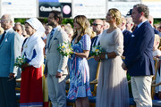 King Carl Gustaf of Sweden, Queen Silvia of Sweden, Prince Carl Philip of Sweden, Princess Sofia of Sweden, Princess Madeleine of Sweden and her husband Chris O'Neill are seen on the occasion of The Crown Princess Victoria of Sweden's 42nd birthday celebrations on July 14, 2019 in Oland, Sweden.