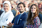 Queen Silvia of Sweden, Prince Carl Philip of Sweden and Princess Sofia of Sweden during the occasion of The Crown Princess Victoria of Sweden's 41st birthday celebrations at Borgholm Sports Arena on July 14, 2018 in Oland, Sweden.