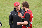 Head Coach Scott Robertson and captain Samuel Whitelock (L-R) look on during a Crusaders Super Rugby training session at Rugby Park on August 2, 2018 in Christchurch, New Zealand.