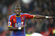 Wilfried Zaha of Crystal Palace gives his team instructions during the Premier League match between Crystal Palace and Newcastle United at Selhurst Park on September 22, 2018 in London, United Kingdom.