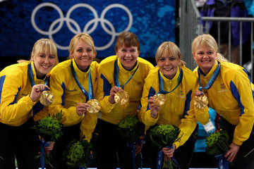 Cathrine Lindahl Olympic Curling - Day 15