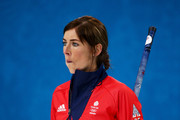 Eve Muirhead of Great Britain looks on during the Bronze medal match between Switzerland and Great Britain on day 13 of the Sochi 2014 Winter Olympics at Ice Cube Curling Center on February 20, 2014 in Sochi, Russia.