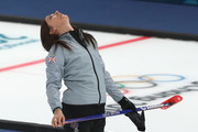 Eve Muirhead of Great Britain reacts during the Women's Semi Final match between Great Britain and Sweden on day fourteen of the PyeongChang 2018 Winter Olympic Games at Gangneung Curling Centre on February 23, 2018 in Gangneung, South Korea.