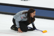 Eve Muirhead of Great Britain reacts during the Women's Semi Final match between  Great Britain v Sweden on day fourteen of the PyeongChang 2018 Winter Olympic Games at Gangneung Curling Centre on February 23, 2018 in Gangneung, South Korea.