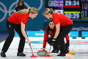 Eve Muirhead of Great Britain competes during the Curling Womens' bronze Medal match between Great Britain and Japan on day fifteen of the PyeongChang 2018 Winter Olympic Games at Gangneung Curling Centre on February 24, 2018 in Gangneung, South Korea.