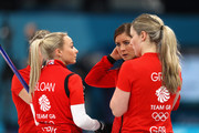 Eve Muirhead of Great Britain speaks to her team during the Curling Womens' bronze Medal match between Great Britain and Japan on day fifteen of the PyeongChang 2018 Winter Olympic Games at Gangneung Curling Centre on February 24, 2018 in Gangneung, South Korea.