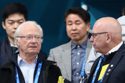Carl XVI Gustaf, King of Sweden celebrates as Sweden win gold during the Women's Gold Medal Game between Sweden and Korea on day sixteen of the PyeongChang 2018 Winter Olympic Games at Gangneung Curling Centre on February 25, 2018 in Gangneung, South Korea.