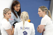 From left Vicki Adams, Eve Muirhead, Anna Sloan and Lauren Gray of Great Britain talk during their game against Olympic Athlete from Russia during Women's Round Robin Session 1 on day five of the PyeongChang 2018 Winter Olympic Games at Gangneung Curling Centre on February 14, 2018 in Gangneung, South Korea.
