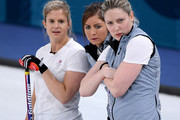 (R-L) Lauren Gray, Eve Muirhead and Vicki Adams of Great Britain watch a shot from South Korea during the Women's Curling Round Robin on day eight of the PyeongChang 2018 Winter Olympic Games at Gangneung Curling Centre on February 17, 2018 in Gangneung, South Korea.