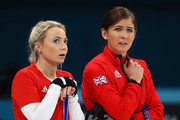 (L-R)  Anna Sloan and Eve Muirhead of Great Britain compete during the Women Curling round robin session 7 on day nine of the PyeongChang 2018 Winter Olympic Games at Gangneung Curling Centre on February 18, 2018 in Gangneung, South Korea.