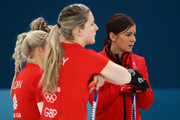 Anna Sloan, Lauren Gray, Vicki Adams and Eve Muirhead of Great Britain look on during the Women Curling round robin session 7 on day nine of the PyeongChang 2018 Winter Olympic Games at Gangneung Curling Centre on February 18, 2018 in Gangneung, South Korea.