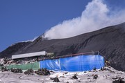 """On the volcano Etna, at an altitude of 2900 metres, sets are being prepared for the filming of the film Cyrano directed by Joe Wright on December 01, 2020 in Catania, Italy . British director Joe Wright chose the Etna setting to shoot some scenes from the film """"Cyrano"""" with Peter Dinklage and Haley Bennet."""