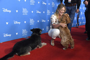 Hilary Duff meets Lady and the Tramp at D23 Disney+ Showcase at Anaheim Convention Center on August 23, 2019 in Anaheim, California.
