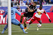 Chris Korb #22 and goalkeeper Bill Hamid #28 of D.C. United defend against Lloyd Sam #10 of New York Red Bulls during their match at Red Bull Arena on March 22, 2015 in Harrison, New Jersey.