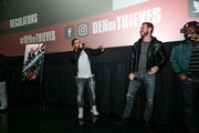 "(L-R) OShea Jackson Jr, Pablo Schreiber and Curtis ""50 Cent"" Jackson at The Den of Thieves special screening at Regal South Beach on January 10, 2018 in Miami, Florida."