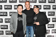 (L-R) Charlie Sheen, Alexander Posth, and Tre Zimmerman attend as DIESEL celebrates the exclusive launch of DIESEL Wynwood 28, their first residential building, with a DJ set by Amrit at Barter on December 04, 2019 in Miami, Florida.