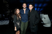 (L-R) Sarah Hyland, Zachary Levi and Wells Adams attend DIRECTV Super Saturday Night 2019 at Atlantic Station on February 2, 2019 in Atlanta, Georgia.