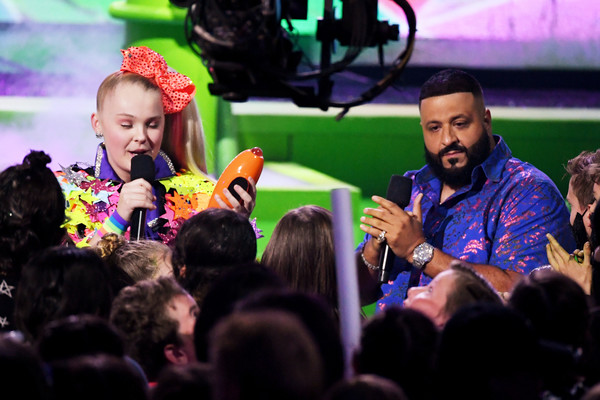 Nickelodeon's 2019 Kids' Choice Awards - Show [performance,event,entertainment,music artist,fun,public event,performing arts,song,audience,pop music,jojo siwa,dj khaled,no brainer,kids choice awards,favorite social music star,award,favorite collaboration,galen center,nickelodeon,show]