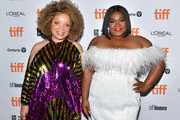 Ruth E. Carter and Da'Vine Joy Randolph attend the world premiere of 'DOLEMITE IS MY NAME' at The Princess of Wales Theatre on September 07, 2019 in Toronto, Canada.