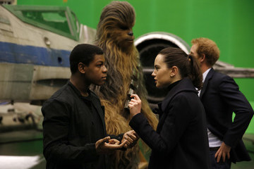 Daisy Ridley The Duke of Cambridge and Prince Harry Visit The 'Star Wars' Film Set