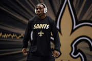C.J. Spiller #28 of the New Orleans Saints participates in warmups prior to a game against the Dallas Cowboys at the Mercedes-Benz Superdome on October 4, 2015 in New Orleans, Louisiana.