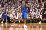 Shawn Marion #0 and Dirk Nowitzki #41 (L) of the Dallas Mavericks reacts against LeBron James #6 and Dwyane Wade #3 (R) of the Miami Heat in Game Two of the 2011 NBA Finals at American Airlines Arena on June 2, 2011 in Miami, Florida. NOTE TO USER: User expressly acknowledges and agrees that, by downloading and/or using this Photograph, user is consenting to the terms and conditions of the Getty Images License Agreement.