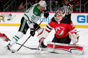 Brett Ritchie #25 of the Dallas Stars is unable to get the puck past Cory Schneider #35 of the New Jersey Devils in the first period on December 15, 2017 at Prudential Center in Newark, New Jersey.