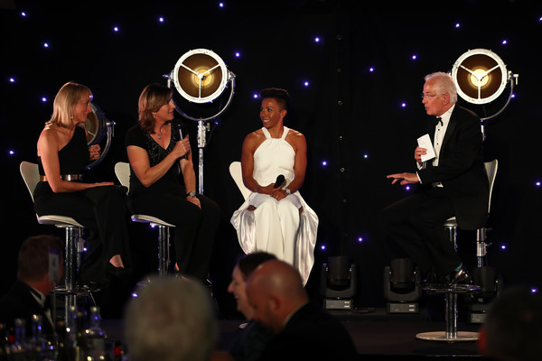 Sports Book Awards [brass instrument,performance,entertainment,event,music,musician,musical instrument,musical ensemble,performing arts,fun,kelly holmes,louise minchin,women,katherine grainger,l-r,sport,england,london,lords cricket ground,sports book awards]