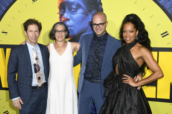 """Premiere Of HBO's """"Watchmen"""" - Arrivals [yellow,event,youth,fashion,premiere,fashion design,fictional character,style,watchmen,arrivals,regina king,damon lindelof,tim blake nelson,nicole kassell,l-r,california,hbo,premiere]"""