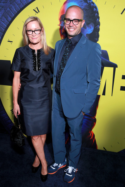 """Premiere Of HBO's """"Watchmen"""" - Red Carpet [yellow,eyewear,premiere,event,electric blue,fashion design,photography,performance,smile,style,red carpet,damon lindelof,heidi fugeman,l-r,california,los angeles,the cinerama dome,hbo,premiere,premiere]"""
