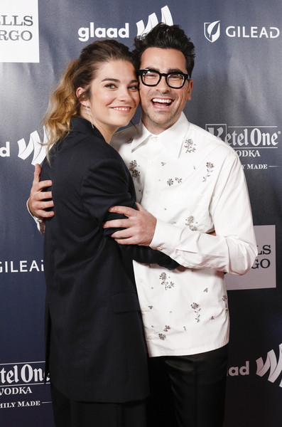 2019 GLAAD Gala San Francisco  - Arrivals [eyewear,premiere,event,photography,black-and-white,smile,vision care,magazine,arrivals,dan levy,annie murphy,r,san francisco,hyatt regency,california,glaad gala]