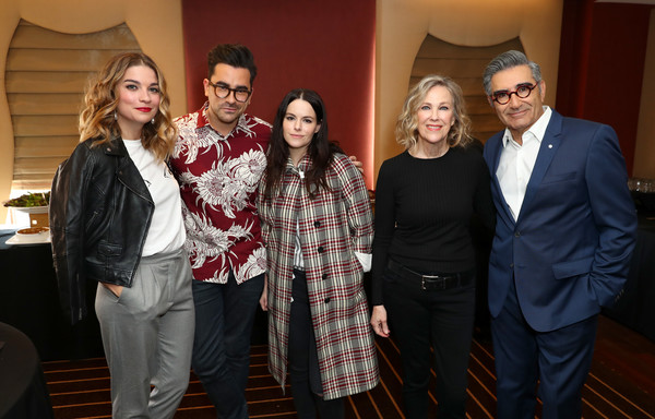 Vulture Festival LA Presented by AT&T - Day 2 [social group,event,fashion,fun,fashion design,suit,family,actors,annie murphy,eugene levy,dan levy,vulture festival la,part,l-r,hollywood roosevelt hotel,at t,panel]