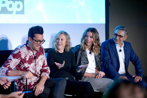 Vulture Festival LA Presented by AT&T - Day 2 [event,yellow,community,fashion,conversation,adaptation,performance,photography,convention,team,actors,dan levy,eugene levy,annie murphy,vulture festival la,part,l-r,hollywood roosevelt hotel,at t,panel]