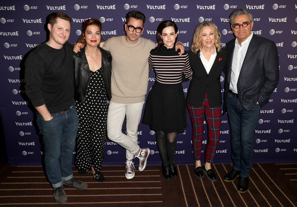 Vulture Festival Presented By AT&T - DAY 1 [fashion,event,premiere,performance,fashion design,suit,carpet,talent show,team,formal wear,jackson mchenry,dan levy,eugene levy,emily hampshire,annie murphy,noah reid,l-r,hollywood roosevelt hotel,at t,vulture festival]