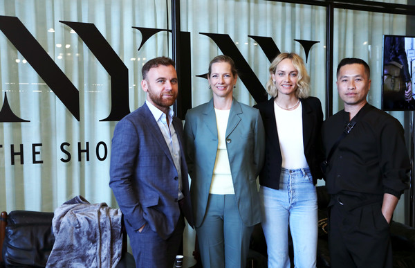 IMG NYFW: The Shows 2019 PARTNERS - September 6 [the shows 2019,suit,social group,white-collar worker,event,formal wear,tuxedo,management,businessperson,team,blazer,img model activist,dana thomas,phillip lim,dean of fashion,amber valetta,burak cakmak,nyfw,l-r,parsons school of design]