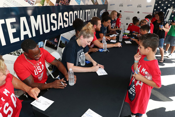 Two Years To Tokyo Youth Sports Clinic [tokyo youth sports clinic,team usa,l-r,countdown,event,team,games,competition event,fan,recreation,competition,championship,child,crowd,athletes,carlin isles,jesse smith,alex bowen,ashleigh johnson,maggie steffens]