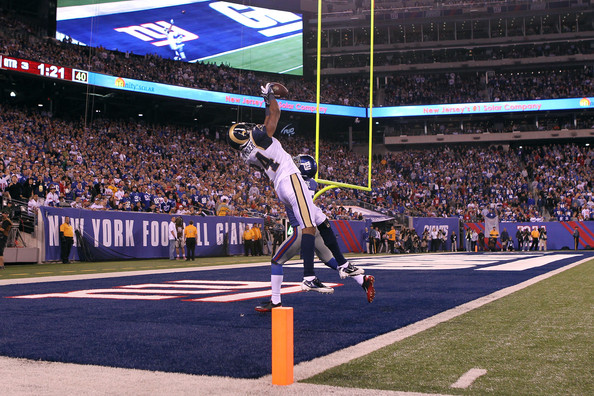 Danario Alexander Danario Alexander #84 of the St. Louis Rams catches a 19-yard touchdown reception in the third quarter against Michael Coe #37 of the New York Giants at MetLife Stadium on September 19, 2011 in East Rutherford, New Jersey.