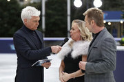 Phillip Schofield interviews Jayne Torvill and Christopher Dean during a photocall for the new series of Dancing On Ice at the Natural History Museum Ice Rink on December 18, 2018 in London, England.