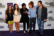"""(L-R) Singer/actress Sabrina Bryan, dancer Lacey Schwimmer, actor Kyle Massey, comedian Carrot Top and entertainer Joey Fatone arrive at the after party for the grand opening of """"Dancing With the Stars: Live in Las Vegas"""" at the New Tropicana Las Vegas April 13, 2012 in Las Vegas, Nevada."""