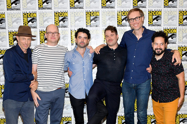 Comic-Con International 2018 - Adult Swim's 'Dream Corp LLC' Press Line [social group,event,team,premiere,stephen merchant,daniel stessen,nicholas rutherford,mark proksch,jon gries,ahmed bharoocha,press line,l-r,dream corp llc,comic-con international 2018 - adult swim]