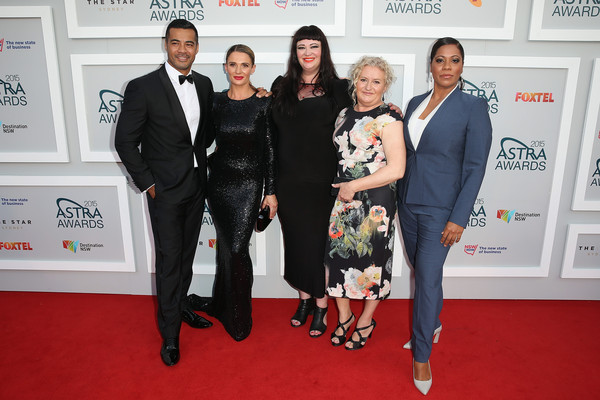 Arrivals at the ASTRA Awards [tv show,red carpet,carpet,event,flooring,premiere,canidae,suit,formal wear,arrivals,cast,danielle cormack,katrina milosevic,robbie magasiva,shareena clanton,l-r,wentworth,astra awards]