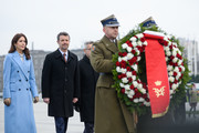 Crown Prince Frederik of Denmark and Crown Princess Mary of Denmark arrive at the Tomb of Unknown Soldiers on November 25, 2019 in Warsaw, Poland. The Danish Crown Prince and his wife are on an official visit to Poland on the occasion of the centenary of the resumption of diplomatic relations between Denmark and Poland.