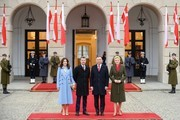 (L-R) Crown Princess Mary of Denmark, Crown Prince Frederik of Denmark, President of Poland, Andrzej Duda and his wife, Agata Duda pose for a portrait during the official welcome ceremony at the Presidential Palace on November 25, 2019 in Warsaw, Poland. The Danish Crown Prince and his wife are on an official visit to Poland on the occasion of the centenary of the resumption of diplomatic relations between Denmark and Poland.