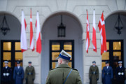 An officer stands in front of the Presidential Palace during the official welcome ceremony for the Danish Crown Prince Couple Visit Poland on November 25, 2019 in Warsaw, Poland. The Danish Crown Prince and his wife are on an official visit to Poland on the occasion of the centenary of the resumption of diplomatic relations between Denmark and Poland.