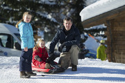 Princess Isabella of Denmark, Princess Josephine of Denmark and Prince Frederik of Denmark attend the Danish Royal family annual skiing photocall whilst on holiday on February 8, 2015 in Verbier, Switzerland.