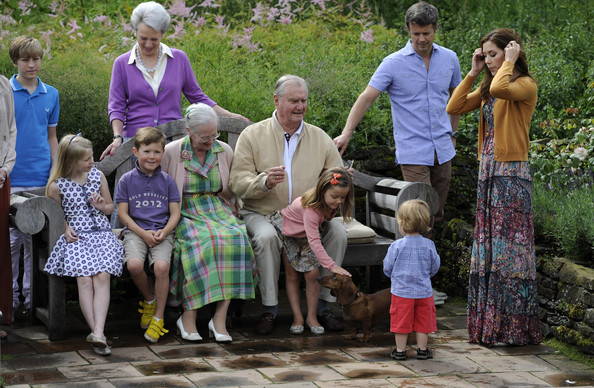 (L-R)  Prince Christian, Queen Margrethe II, Prince Henrik,, Princess Isabella, Prince Vincent Frederik Minik Alexander, Prince Frederik and Crown Princess Mary pose during a photocall for the Royal Danish family at their summer residence of Grasten Slot on July 20, 2012 in Grasten, Denmark.